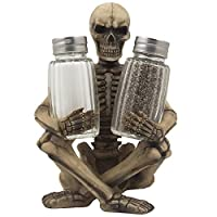 Scary Skeleton Glass Salt and Pepper Shaker Set with Decorative Spice Rack Display Stand Holder Figurine for Spooky Halloween Party Decorations and Skulls & Skeletons Kitchen Decor Table Centerpiece Sculptures As Medieval or Gothic Gifts by Generic