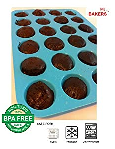 MJBAKERS Mini Muffin Pan- 24 Cups Premium Perfect Portion Control Baking Pans- Non Stick- Food Grade Siicone Mold Heat Resistant Bakeware - Dishwasher, Oven & Freezer Safe In Vibrant Blue