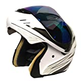 Motorcycle Street Bike Modular Filp up Full Face Adult Helmet White