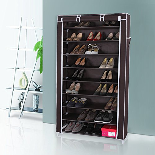 shoe racks free standing 10 tiers dustproof waterproof cover closet storage new ebay. Black Bedroom Furniture Sets. Home Design Ideas