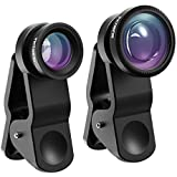 VicTsing 3 In 1 180 Degree Fisheye Lens Plus Wide Angle Lens Plus Macro Lens IPhone Camera Lens Kits For IPhone, Android And Smartphones With Flat Camera