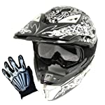 1Storm Motocross MX BMX Helmet Dragon Black with Retractable Visor + Goggles + Skeleton Black Glove Bundle (X-Large)