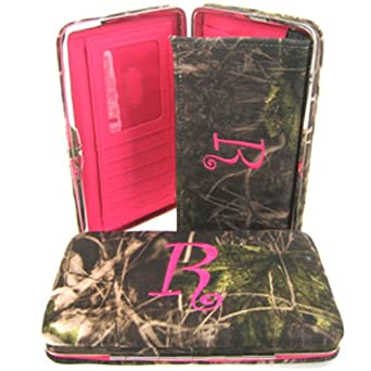 """Soft Camo Initial """" R """" Thick Flat Wallet Clutch Purse Hot Pink Camoflauge"""