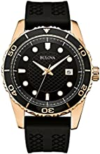 Bulova Sports Men's Quartz Watch with Black Dial Analogue Display and Black Silicone Strap 98B261