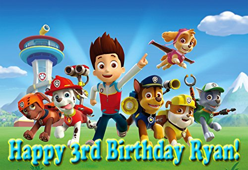"""Paw Patrol """"Ready For Action!"""" 1/4 Sheet Edible Photo Birthday Cake Topper. ~ Personalized!"""
