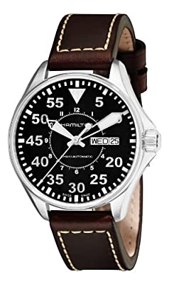 Hamilton Men's H64425535 Khaki Night Pilot Black Day Date Dial Watch from Hamilton