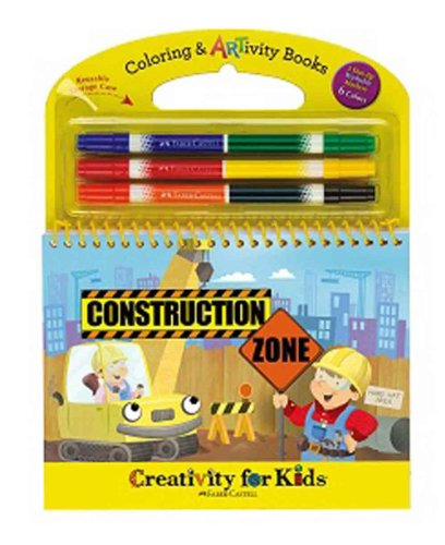 Construction Zone Coloring & Artivity Book front-587536