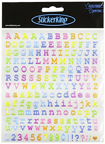 Multi-Colored Stickers-Courier Type Alphabet