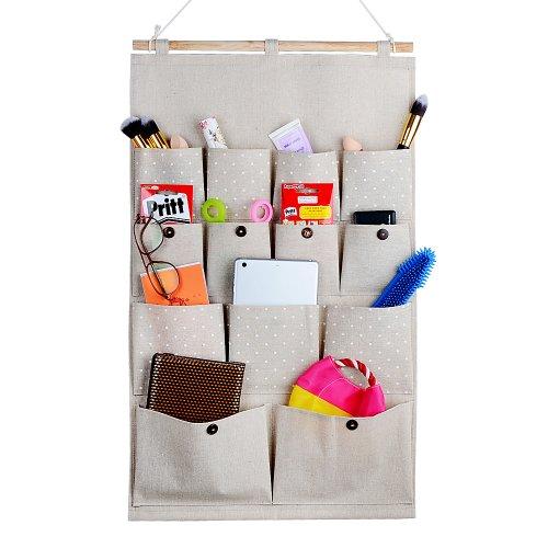 Home-Cube® Linen/Cotton Fabric 13 Pockets Wall Door Closet Hanging Storage Bag Organizer,White Polka Dots/Navy Stripe (White Polka Dots)