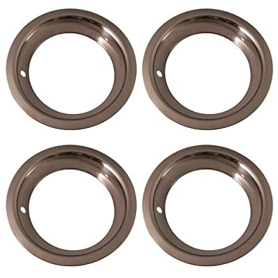 Set of 4 Stainless Steel 15 Inch Beauty Trim Rings with Metal Clip Retention System - Part Number: IWC1515D3