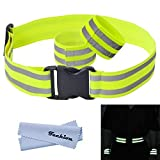 Techion Reflective Elastic Fabric Waist Belt Band with Buckle Clip and Two Reflective Strips for Cycling / Biking / Walking / Jogging / Running Gear and Outdoor Sports (Waistband)
