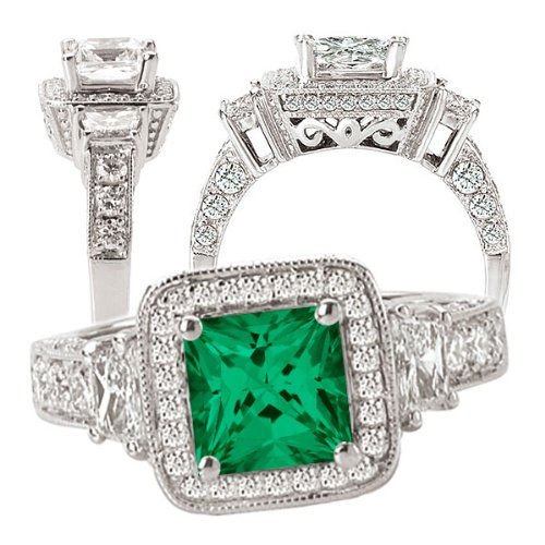 18K Created 6Mm Princess Cut Emerald Engagement Ring With Natural Diamond Halo