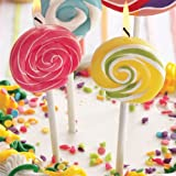 Small Colorful Lollipop Swirl Candles, set of 3