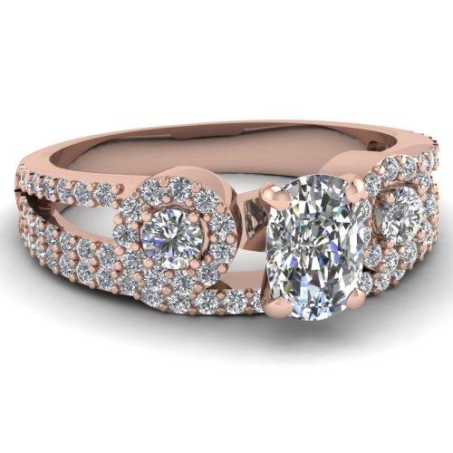 Fascinating Diamonds 1.60 Ct Cushion Cut Flawless Diamond Twisted Pave Wedding Engagement Rings Set Gia