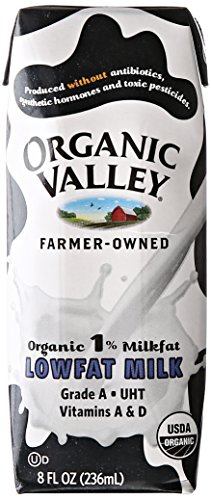 Organic Valley Organic 1% Lowfat Single Serve Milk, 8-Ounce Aseptic Cartons (Pack of 24)