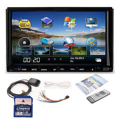 "Hd 7"" In Dash Double 2 Din Car Dvd Stereo Player Gps Navigation Bluetooth Usb/Tv"