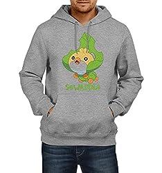 Fanideaz Men's Cotton Sewaddle Pokemon Hoodies For Men (Premium Sweatshirt)_Grey Melange_XL