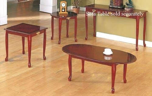 Queen Anne Style Cherry Finish Wood Coffee Table 2 End Tables Set Ebay