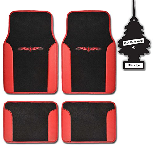 Bdk Red Tribal Print Carpet Car Floor Mats Durable Plush Fit 4 Pcs W/Blackice front-100016