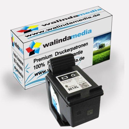 Walindamedia 1x Druckerpatrone Ersatz für Hp 1x 901 XL Tinte black 20ml Ersatz für Hp cc654ae ( 901 xl , hp901xl) , schwarz, bk, Original Hauptserie