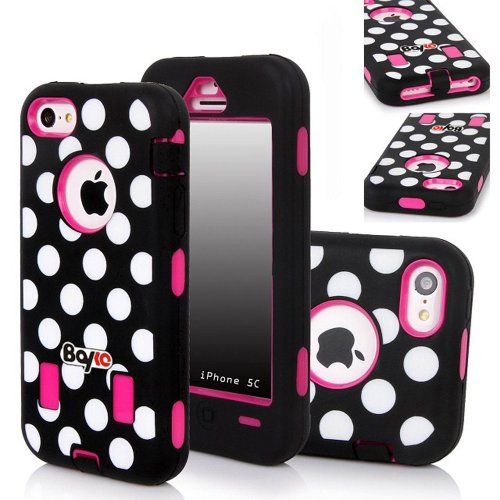 Bayke Brand Premium Armorbox Armor Defender Case for Apple Iphone 5C (5s & 5 Not Fit) Fashion Polka Dots Print High Impact Dual Layer Hybrid Full-body Protective Case (Hot Pink / Screen Protector not Include) at Amazon.com