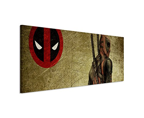 Stampata Deadpool _ Wade _ Wilson 150x 50cm Panorama _ Telaio di alta qualità con vera tela come quadro su telaio da parete