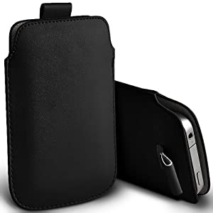 GREAT DEALS, Black - HTC Desire , HTC Bravo, HTC Desire A8181 - PU PULL TAB Flip Grip Protective POUCH WALLET SKiN POCKET LEATHER CASE COVER