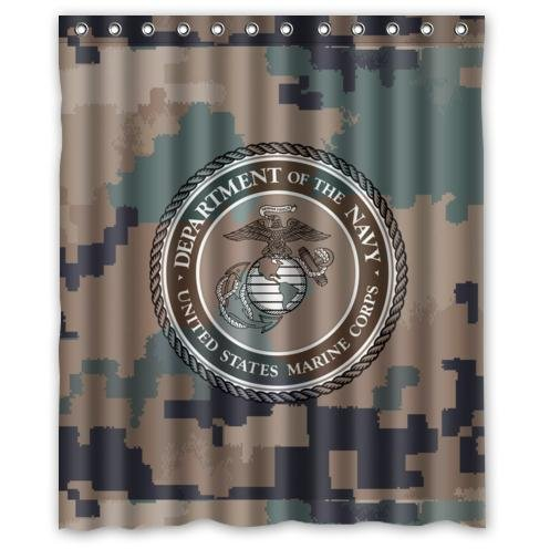 Customized United States Marine Corps Design Curtain With Camouflage Background
