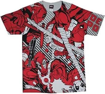 Deadpool All Over - Marvel Comics T-shirt: Adult 2XL - Silver