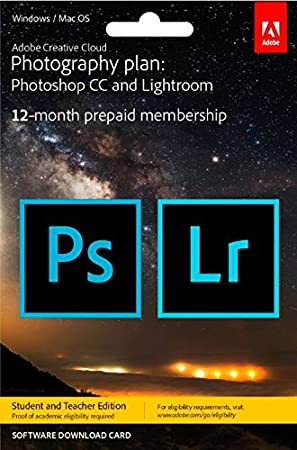 Adobe Creative Cloud Photography Plan Keycard Student Teacher Edition (PC)