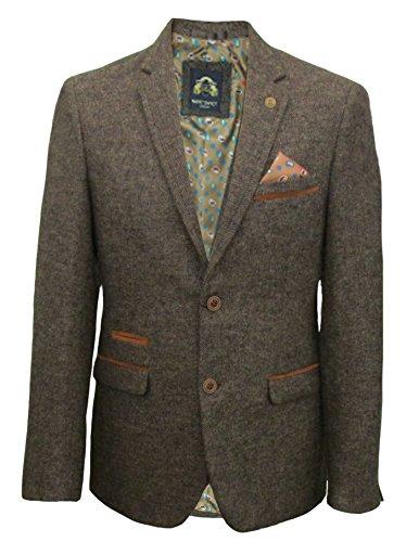 Mens-Marc-Darcy-Vintage-Tweed-Blazer-Carlton-Tan-50-127cm