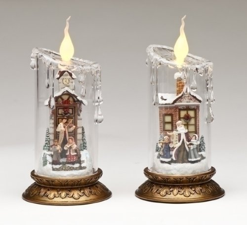 Set of 2 Joseph's Studio LED Lighted Clear Pillar Victorian Christmas Candles 8