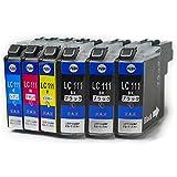 LC111-4PK + LC111BK ブラック2個 = 合計6個セット ※4色+ブラック2個セット(合計6個) ICチップ付き BROTHER 互換インク 残量表示可能  ( LC111BK 、LC111BK 、LC111BK 、 LC111C 、 LC111M 、 LC111Y )  対応機種: MFC-J987DN MFC-J987DWN MFC-J980DN MFC-J980DWN MFC-J897DN MFC-J897DWN MFC-J890DN MFC-J890DWN MFC-J877N MFC-J870N MFC-J827DN MFC-J827DWN MFC-J820DN MFC-J820DWN MFC-J727D MFC-J727DW MFC-J720D MFC-J720DW DCP-J957N DCP-J952N DCP-J757N DCP-J752N DCP-J557N DCP-J552N [ ZAZ  FFPパッケージ(111-BK2) 〕