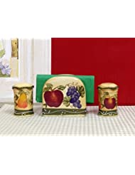 European Tuscan Fruit Grape Kitchen Salt Pepper Shaker Napkin Holder by ACK