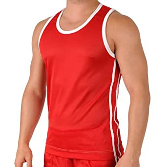 Mens Red Shiny Breathable Mesh Performance Athletic Workout Tank Top by Gary Majdell Sport Size Small