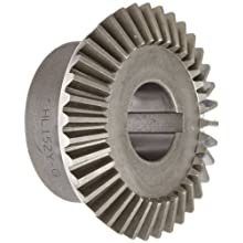 "Boston Gear HL152Y-G Bevel Gear, 2:1 Ratio, 1.000"" Bore, 12 Pitch, 36 Teeth, 20 Degree Pressure Angle, Straight Bevel, Keyway, Steel with Case-Hardened Teeth"