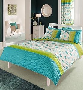 Teal Green Flower Polka Dot Print Double Bed Set Sheet Curtains 66 X 72