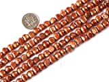 Sweet & Happy Girl'S Store 7-8mm Fire Brick Color Freeform Cultured Pearl Beads Strand 15