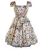 H&R London 50's Summer Floral Dress Peach