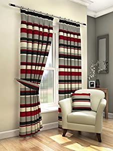 """Modern Fresh Red Cream Striped Curtains Lined Pencil Pleat 66"""" X 72"""" #amas by PCJ SUPPLIES"""