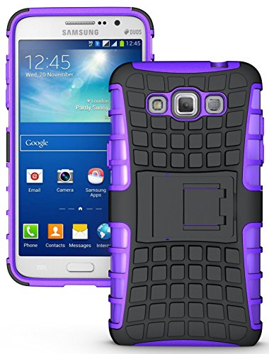 NAKEDCELLPHONE'S PURPLE GRENADE GRIP RUGGED TPU SKIN HARD CASE COVER STAND FOR SAMSUNG GALAXY GRAND MAX PHONE (SM-G7200