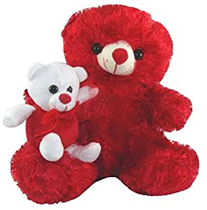Tickles I Teddy bear Stuffed Soft Plush Toy Red with Kid  32 cm