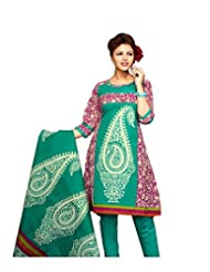 Karishma Suit - FREE Maybelline Colossal Kajal MRP 199 - S Purple-Green Printed Pure Cotton Unstiched Salwar Suit...