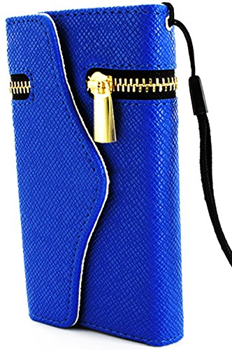 Mylife Royal Blue {Modern Fashion Zipper Design} Faux Leather (Card, Cash And Id Holder + Magnetic Closing) Slim Wallet For Galaxy Note 3 Smartphone By Samsung (External Textured Synthetic Leather With Magnetic Clip + Internal Secure Snap In Closure Hard front-48834