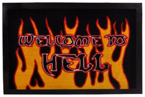 ZERBINO ' welcome To Hell' | ZERBINO TAPPETO Tappetino fondo sporco, 40 cm x 60 cm