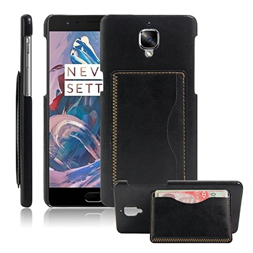 04. OnePlus 3 Case, OnePlus Three Case, Fettion Leather Wallet Phone Cases Flip Cover with Stand Card Holder for OnePlus 3 2016 Smartphone (Bracket - Black)