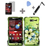 Rubberized Green Hawaiian Flower Snap on Design Case Hard Case Skin Cover Faceplate with Screen Protector, Case Opener and Stylus Pen for Motorola Droid RAZR M 4G LTE / XT907 - Verizon