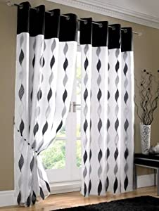 "Stunning Black White Organza Silk Taffeta Lined Ring Top Curtains 56"" X 54"" from PCJ SUPPLIES"
