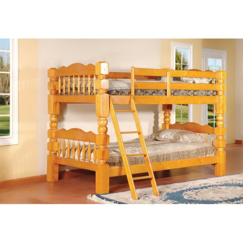Twin Over Twin Bunk Bed Finish: Honey Oak front-17786