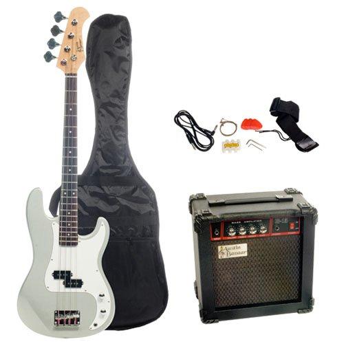 Austin Bazaar Electric Bass Pack with 15 Watt Amp - Silver